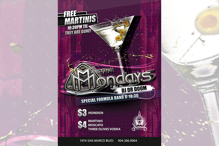 martini monday flyer nightclub flyer